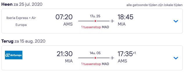 Retour tickets Amsterdam > Miami | 20 dagen | €348 2
